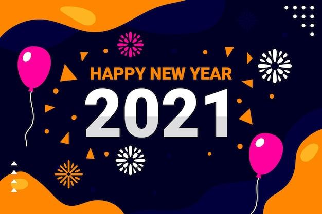 Płaskie tło nowego roku 2021