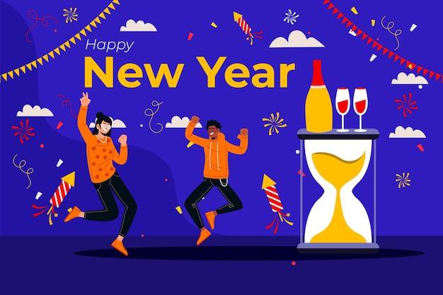 Płaskie tło nowego roku z ludźmi świętującymi
