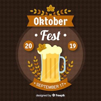Płaskie tło oktoberfest z kuflem piwa