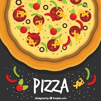 Płaskie tło pikantne pizzy