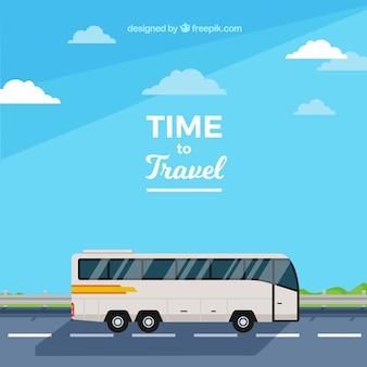 Płaskie tło projektu podróży autobusem