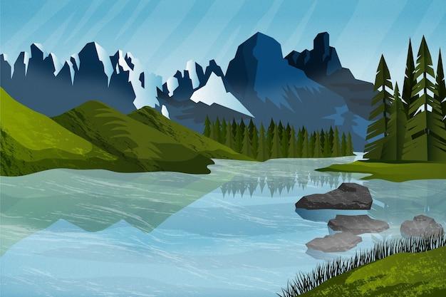 Płaskie tło przygody z górami
