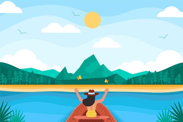Płaskie tło przygody z jeziorem
