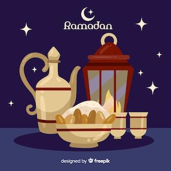 Płaskie tło ramadan