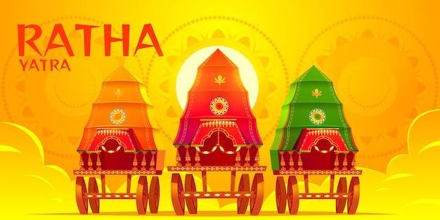 Płaskie tło rath yatra