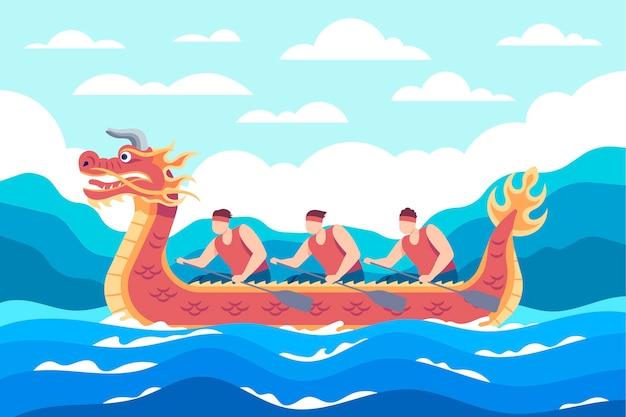 Płaskie tło smoczej łodzi