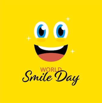 Płaskie tło światowego dnia uśmiechu w kolorze żółtym. emotikon twarz