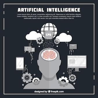 Płaskie tło sztucznej inteligencji