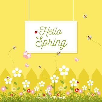 Płaskie tło wiosna ogród
