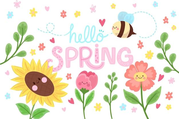 Płaskie tło wiosna z pszczoły