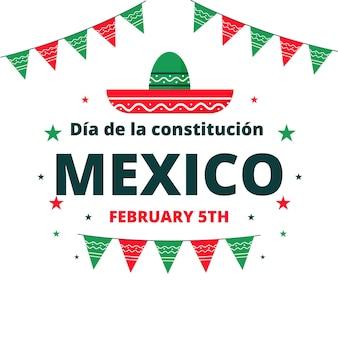 Płaskie tło wydarzenia dzień konstytucji meksyku