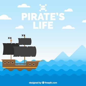 Płaskie tło z falami i piracki statek