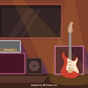 Płaskie tło z gitara elektryczna i reflektory