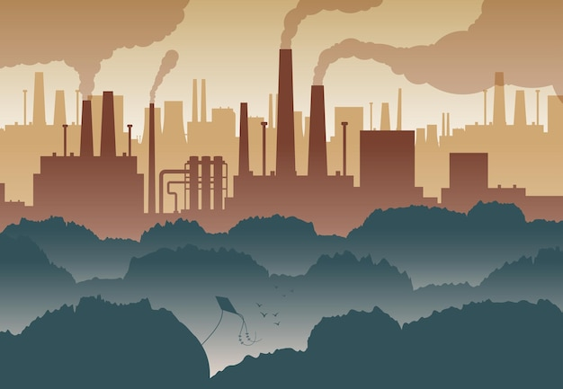 Płaskie tło z zielonymi drzewami i licznymi kominami fabrycznymi zanieczyszczającymi powietrze ilustracja