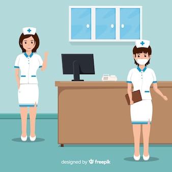 Płaskie tło zespół pielęgniarki