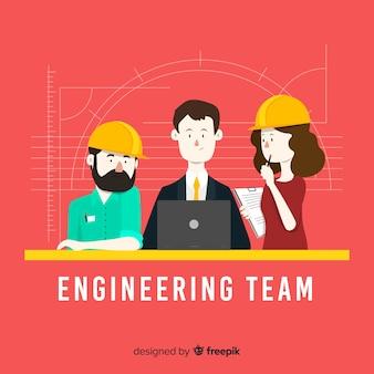 Płaskie tło zespołu inżynierii