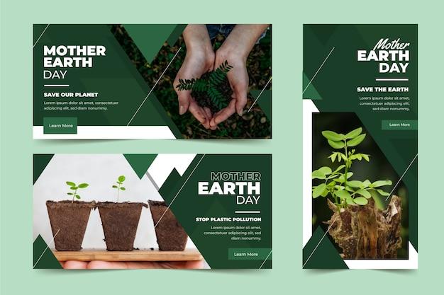 Płaskie transparent dzień matki ziemi