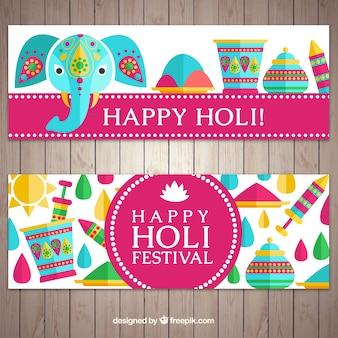 Płaskie transparenty z kolorowych elementów festiwalu holi