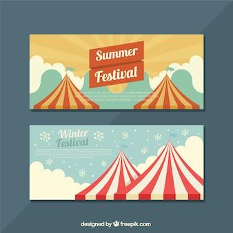 Płaskie transparenty z sezonowych festiwali