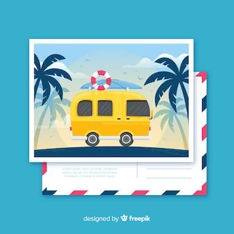 Płaskie tropikalne letnie wakacje pocztówka