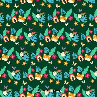 Płaskie tropikalne liście i kwiaty tło