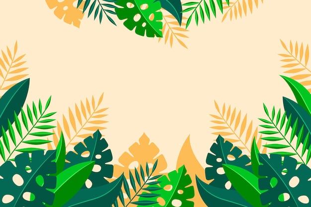 Płaskie tropikalne liście tło