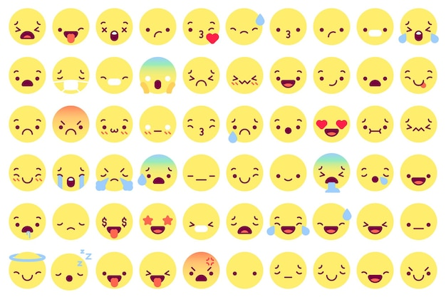 Płaskie twarze emoji. zestaw ikon.
