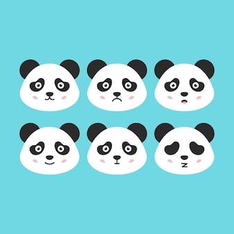 Płaskie twarze pandy. ilustracja wektorowa ładny zwierząt głowy emocjonalne.
