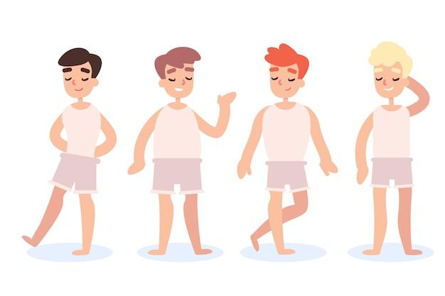 Płaskie typy ilustracji męskich kształtów ciała