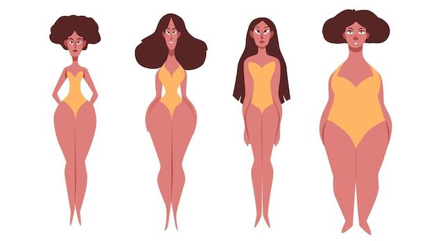 Płaskie typy kształtów kobiecego ciała