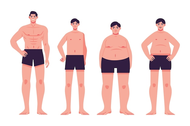 Płaskie typy kształtów męskiego ciała