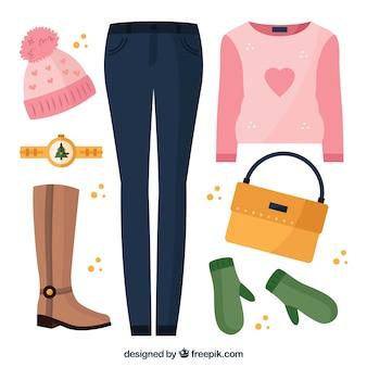 Płaskie ubrania zimowe dla kobiet