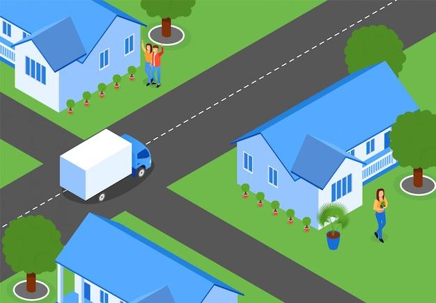 Płaskie ulice miasta z nowymi domami, izometryczny.