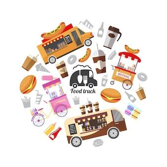 Płaskie uliczne jedzenie okrągłe z ilustracją jedzenia