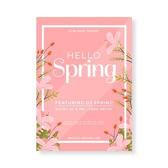 Płaskie ulotki szablon wiosna party