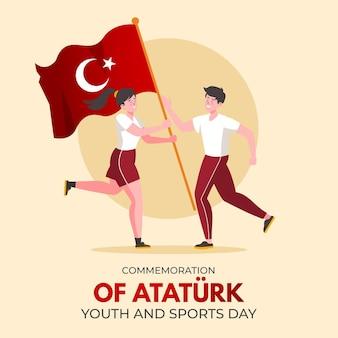 Płaskie upamiętnienie ilustracji ataturka, młodzieży i sportu