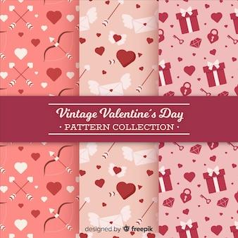 Płaskie valentine elementów wzorów