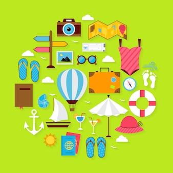 Płaskie wakacje letnie ikony zestaw w kształcie koła. ilustracja wektorowa obiektów letnich wakacji z miękkim cieniem