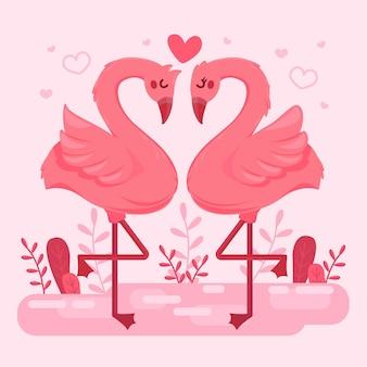Płaskie walentynki para flamingów