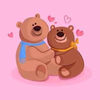 Płaskie walentynki para niedźwiedzia