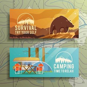 Płaskie wektor campingowe banery na temat przetrwania w dziczy, biwakowania, podróży itp