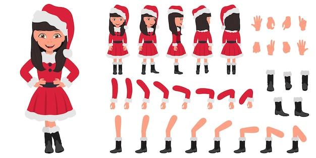 Płaskie wektor ilustracja dziecko dziewczyna noszenie santa kostium kreskówka zestaw znaków do animacji