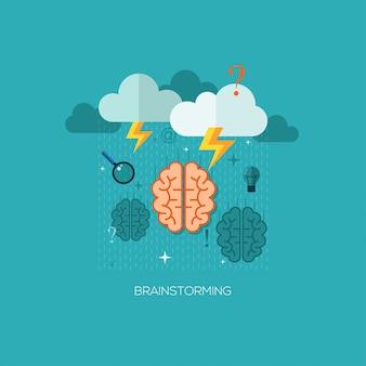 Płaskie wektor ilustracja koncepcja burzy mózgów