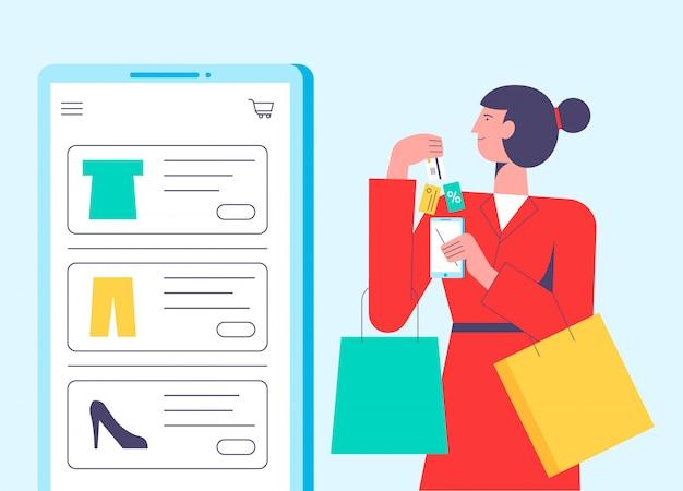 Płaskie wektor ilustracja koncepcja kobiety zakupy online trzymając torbę.
