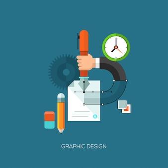 Płaskie wektor ilustracja koncepcja projektowania graficznego