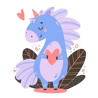 Płaskie wektor ilustracja kreskówka fioletowy jednorożec z sercem. ilustracja kolor jednorożca w stylu doodle wyciągnąć rękę.