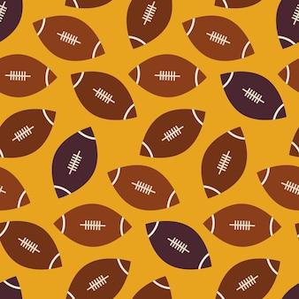 Płaskie wektor wzór bez szwu sportu i rekreacji futbolu amerykańskiego. płaski styl tekstura tło. szablon gier sportowych i gier. zdrowy tryb życia. piłka