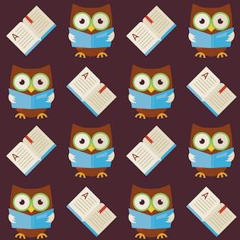 Płaskie wektor wzór mądrości sowa czytanie książki. nowoczesny styl płaski tekstura tło wektor. szablon wiedzy. powrót do szkoły. mądrość ptasia sowa z otwartą książką z zakładką