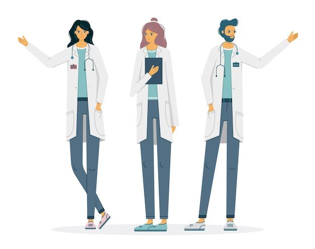 Płaskie wektor zestaw ilustracji lekarzy lub pracowników szpitala