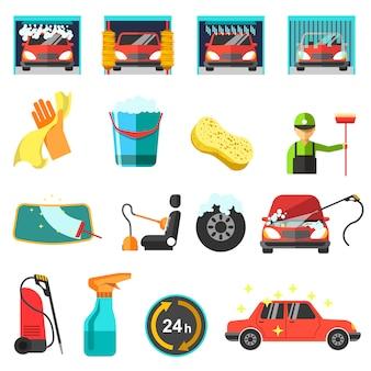 Płaskie wektorowe ikony myjni samochodowej.